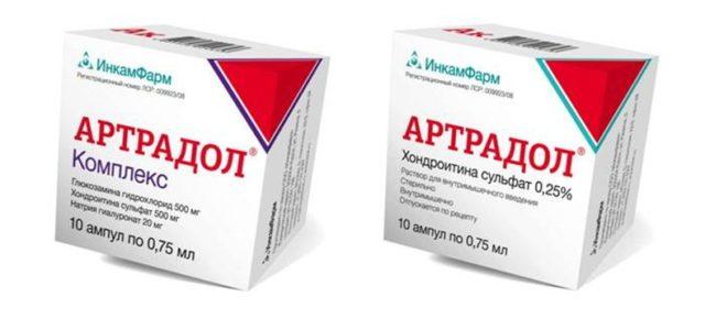 Показания для применения Артрадола – это дегенеративные и дистрофические болезни периферических суставов и позвоночника